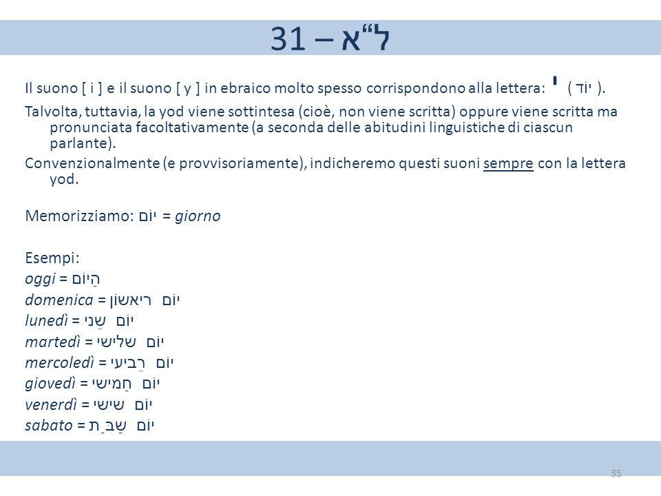 """31 – ל""""א Il suono [ i ] e il suono [ y ] in ebraico molto spesso corrispondono alla lettera: י ( יוֹד ). Talvolta, tuttavia, la yod viene sottintesa (c"""