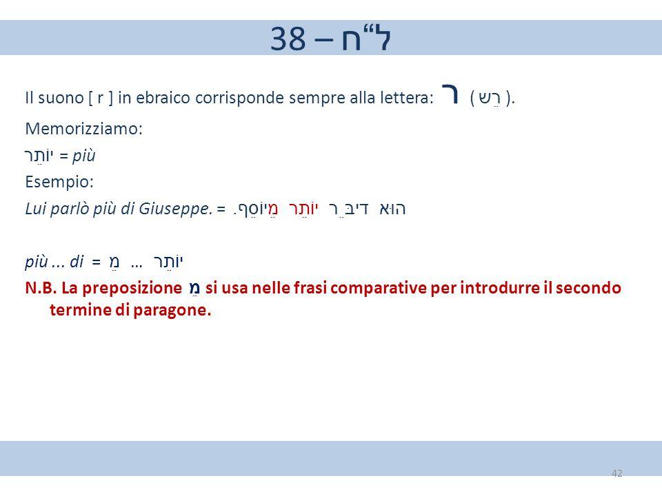 """38 – ל""""ח Il suono [ r ] in ebraico corrisponde sempre alla lettera: ר ( רֵש ). Memorizziamo: יוֹתֵר = più Esempio: Lui parlò più di Giuseppe. = הוּא–דיבּ"""