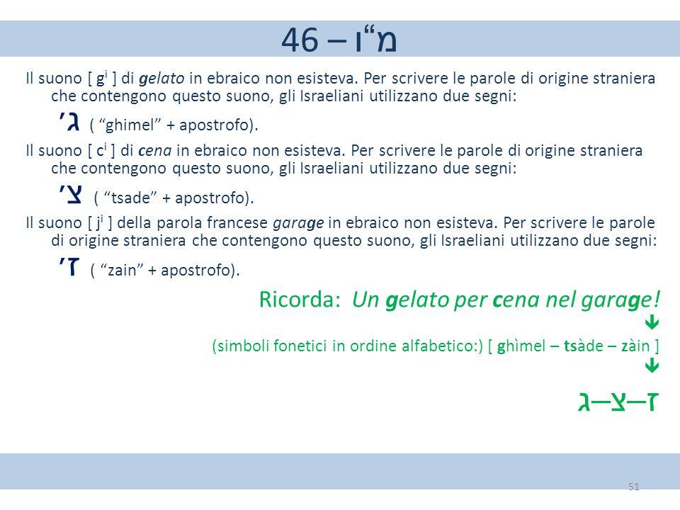 """46 – מ""""ו Il suono [ g i ] di gelato in ebraico non esisteva. Per scrivere le parole di origine straniera che contengono questo suono, gli Israeliani u"""