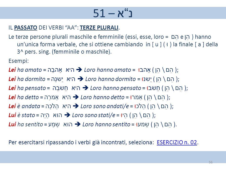 "51 – נ""א IL PASSATO DEI VERBI ""AA"": TERZE PLURALI. Le terze persone plurali maschile e femminile (essi, esse, loro = הֵם e הֵן ) hanno un'unica forma"