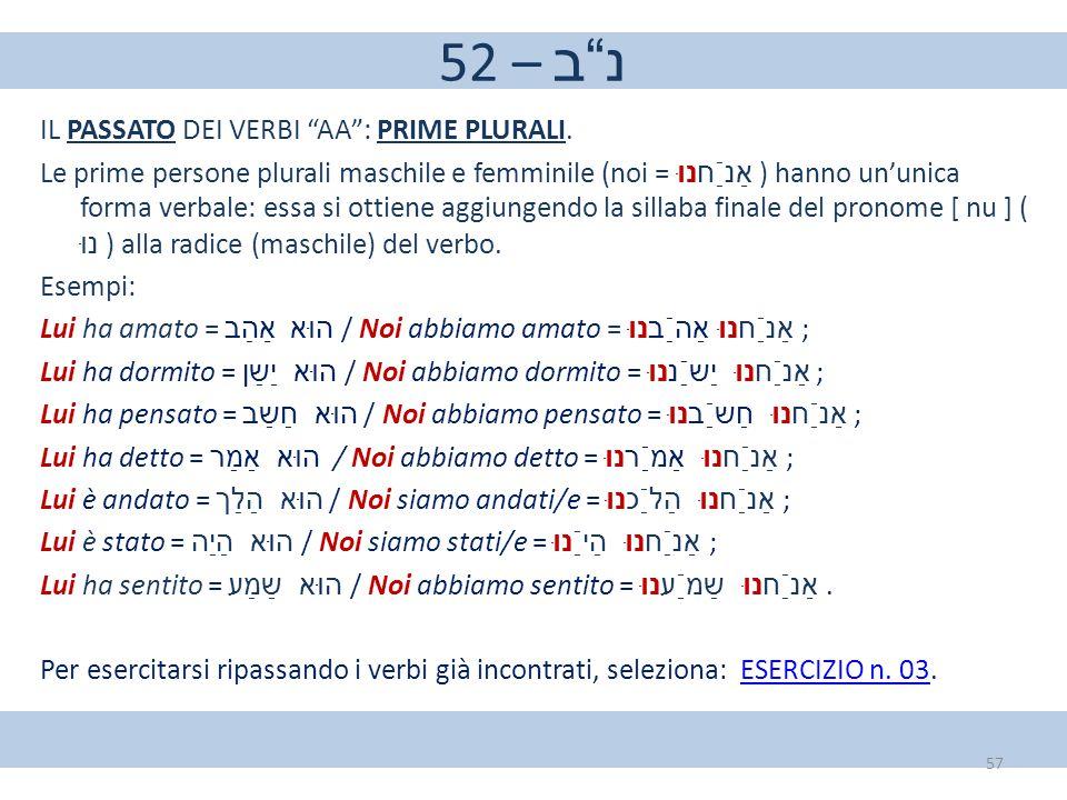 """52 – נ""""ב IL PASSATO DEI VERBI """"AA"""": PRIME PLURALI. Le prime persone plurali maschile e femminile (noi = אַנַֿחנוּ ) hanno un'unica forma verbale: essa"""