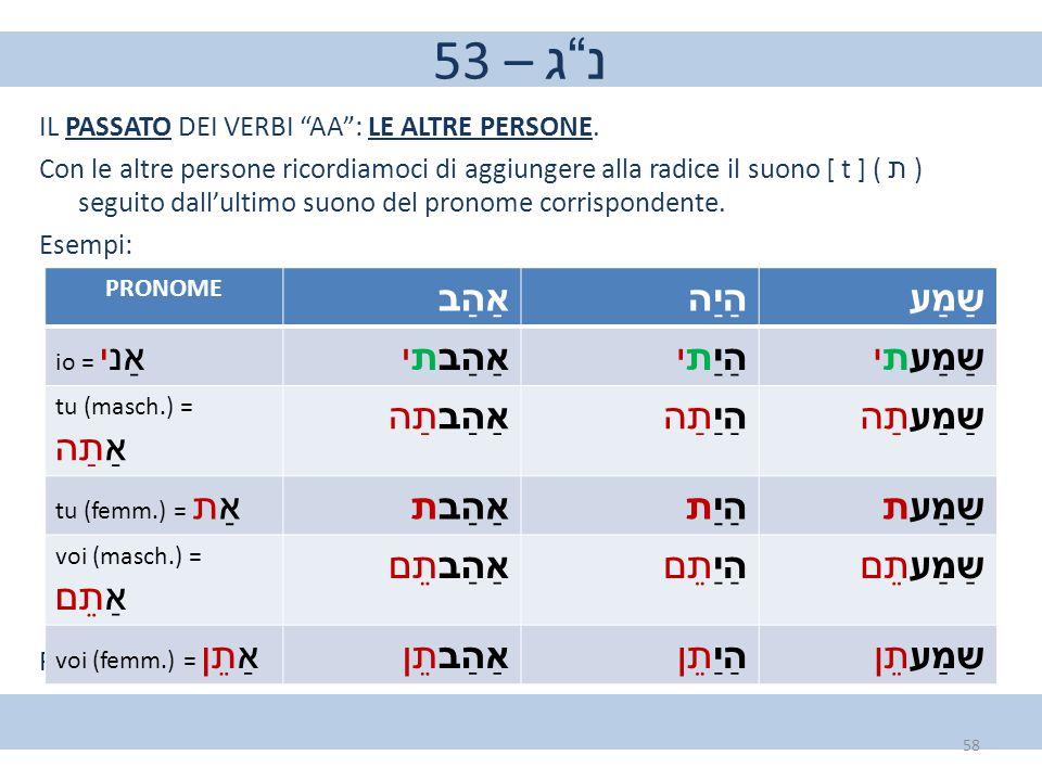"""53 – נ""""ג IL PASSATO DEI VERBI """"AA"""": LE ALTRE PERSONE. Con le altre persone ricordiamoci di aggiungere alla radice il suono [ t ] ( ת ) seguito dall'ul"""