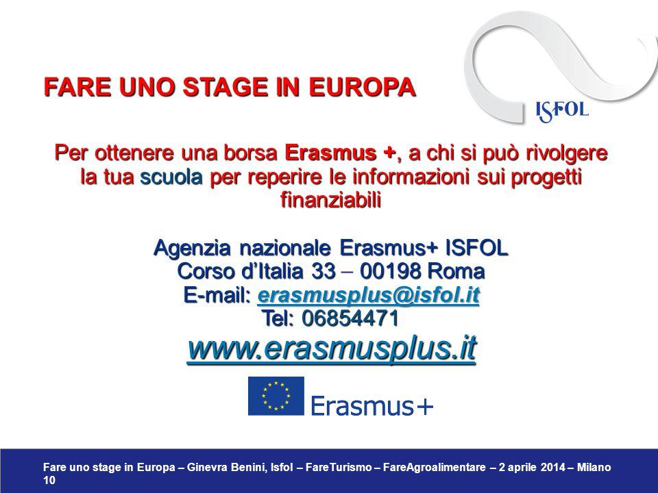 Fare uno stage in Europa – Ginevra Benini, Isfol – FareTurismo – FareAgroalimentare – 2 aprile 2014 – Milano 10 Per ottenere una borsa Erasmus +, a ch