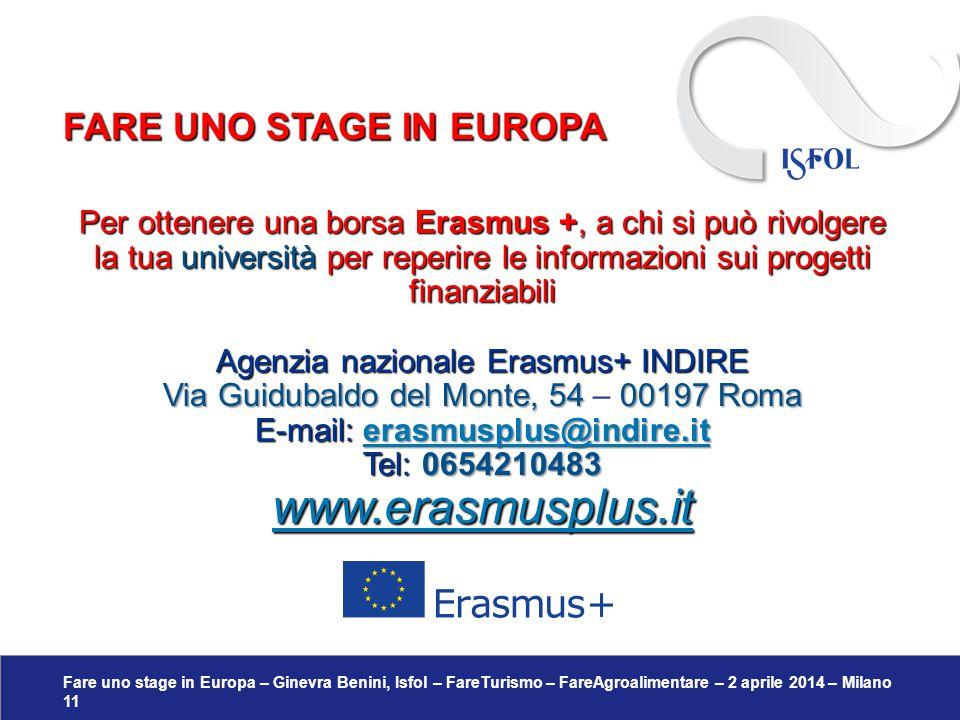 Fare uno stage in Europa – Ginevra Benini, Isfol – FareTurismo – FareAgroalimentare – 2 aprile 2014 – Milano 11 Per ottenere una borsa Erasmus +, a ch