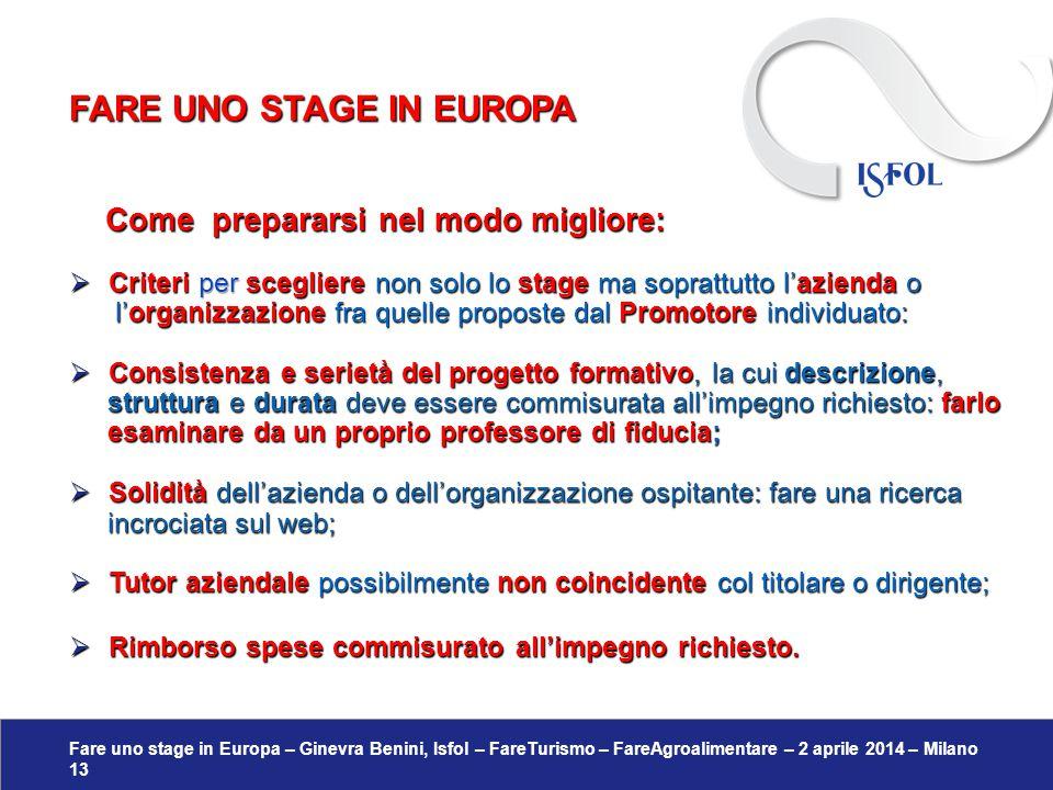 Fare uno stage in Europa – Ginevra Benini, Isfol – FareTurismo – FareAgroalimentare – 2 aprile 2014 – Milano 13 Come prepararsi nel modo migliore: Com