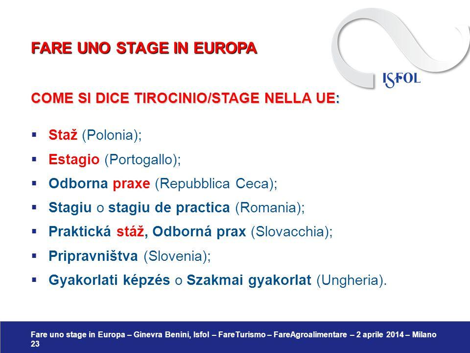 Fare uno stage in Europa – Ginevra Benini, Isfol – FareTurismo – FareAgroalimentare – 2 aprile 2014 – Milano 23 COME SI DICE TIROCINIO/STAGE NELLA UE: