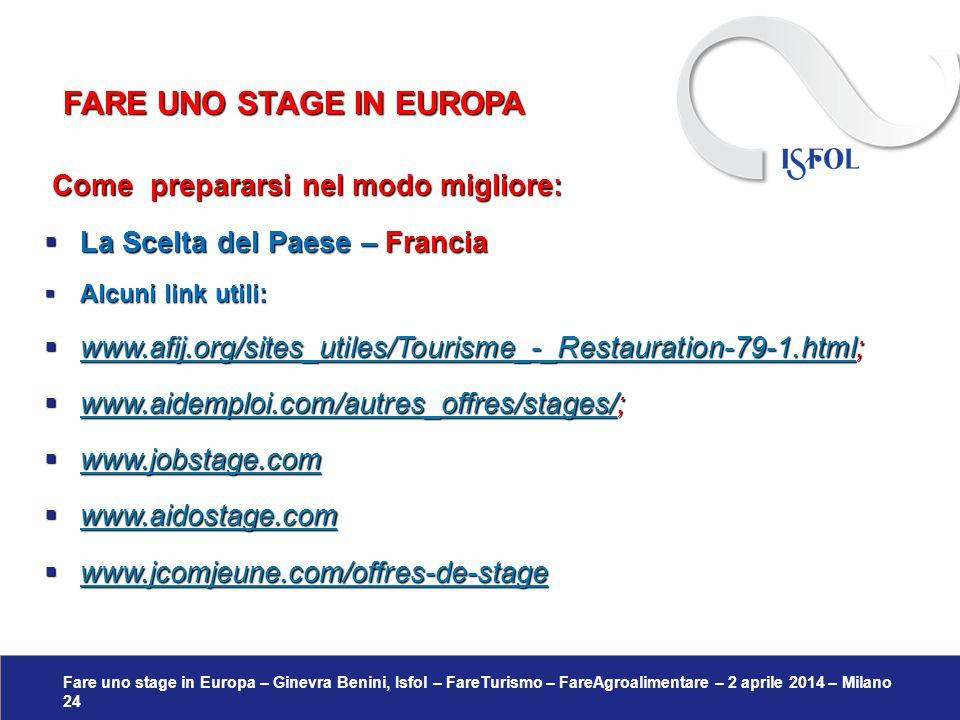 Fare uno stage in Europa – Ginevra Benini, Isfol – FareTurismo – FareAgroalimentare – 2 aprile 2014 – Milano 24 Come prepararsi nel modo migliore: Com