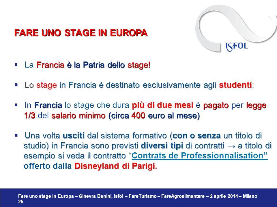 Fare uno stage in Europa – Ginevra Benini, Isfol – FareTurismo – FareAgroalimentare – 2 aprile 2014 – Milano 25 Francia è la Patria dello stage!  La