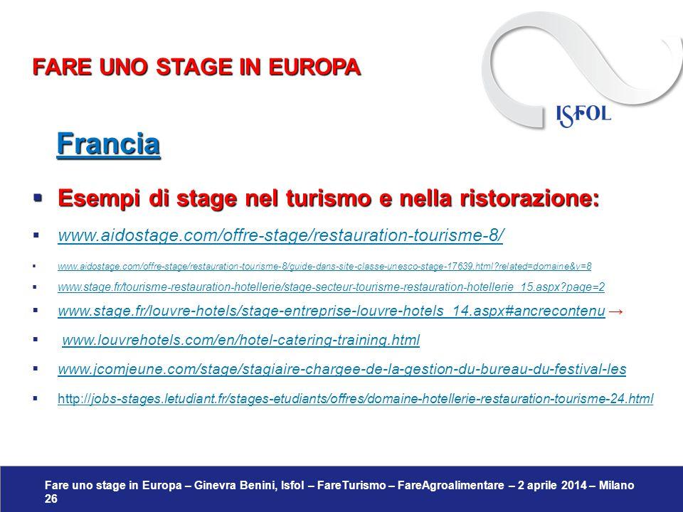 Fare uno stage in Europa – Ginevra Benini, Isfol – FareTurismo – FareAgroalimentare – 2 aprile 2014 – Milano 26 Francia Francia  Esempi di stage nel