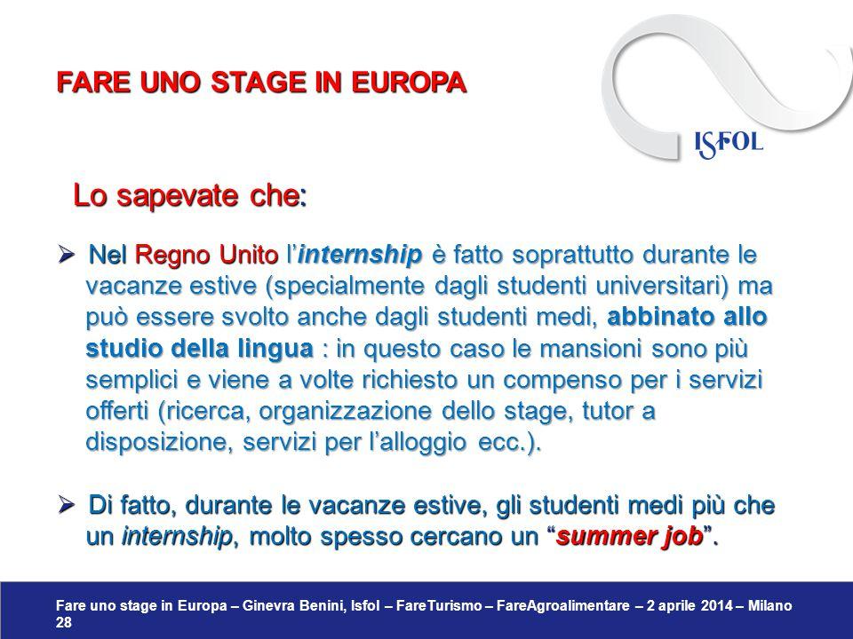 Fare uno stage in Europa – Ginevra Benini, Isfol – FareTurismo – FareAgroalimentare – 2 aprile 2014 – Milano 28 Lo sapevate che: Lo sapevate che:  Ne