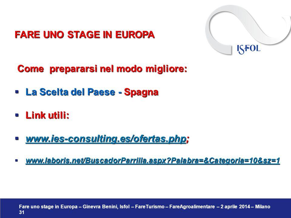 Fare uno stage in Europa – Ginevra Benini, Isfol – FareTurismo – FareAgroalimentare – 2 aprile 2014 – Milano 31 Come prepararsi nel modo migliore: Com