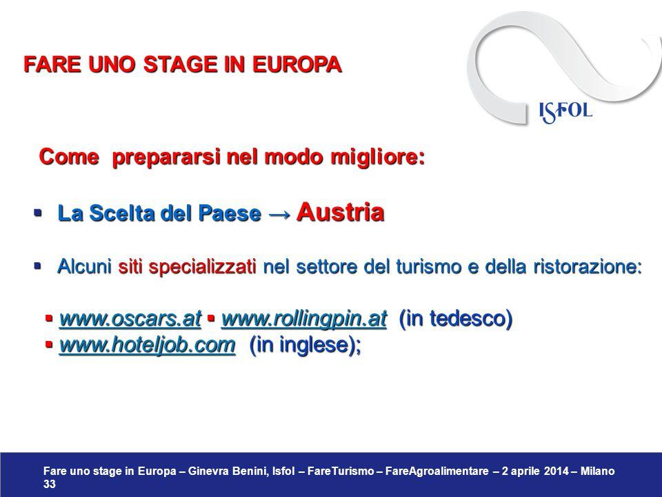 Fare uno stage in Europa – Ginevra Benini, Isfol – FareTurismo – FareAgroalimentare – 2 aprile 2014 – Milano 33 Come prepararsi nel modo migliore: Com