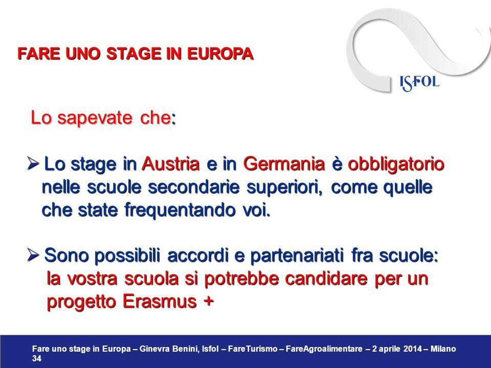 Fare uno stage in Europa – Ginevra Benini, Isfol – FareTurismo – FareAgroalimentare – 2 aprile 2014 – Milano 34 Lo sapevate che: Lo sapevate che:  Lo
