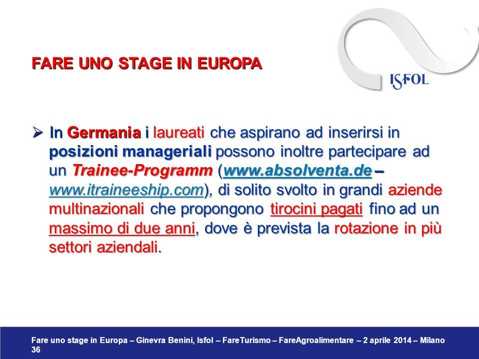 Fare uno stage in Europa – Ginevra Benini, Isfol – FareTurismo – FareAgroalimentare – 2 aprile 2014 – Milano 36  In Germania ilaureati che aspirano a
