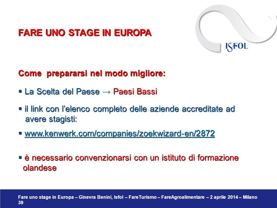 Fare uno stage in Europa – Ginevra Benini, Isfol – FareTurismo – FareAgroalimentare – 2 aprile 2014 – Milano 39 Come prepararsi nel modo migliore:  L