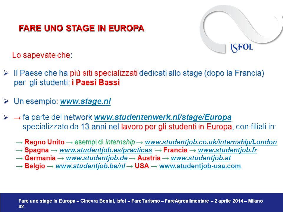 Fare uno stage in Europa – Ginevra Benini, Isfol – FareTurismo – FareAgroalimentare – 2 aprile 2014 – Milano 42 Lo sapevate che: Lo sapevate che:  Il