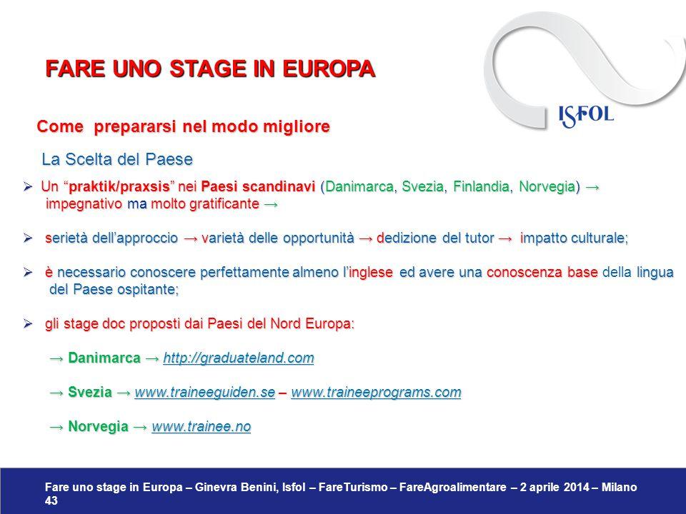 Fare uno stage in Europa – Ginevra Benini, Isfol – FareTurismo – FareAgroalimentare – 2 aprile 2014 – Milano 43 Come prepararsi nel modo migliore Come