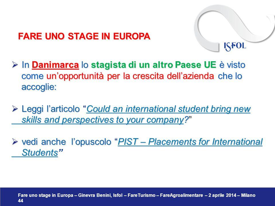 Fare uno stage in Europa – Ginevra Benini, Isfol – FareTurismo – FareAgroalimentare – 2 aprile 2014 – Milano 44  In Danimarca lo stagista di un altro