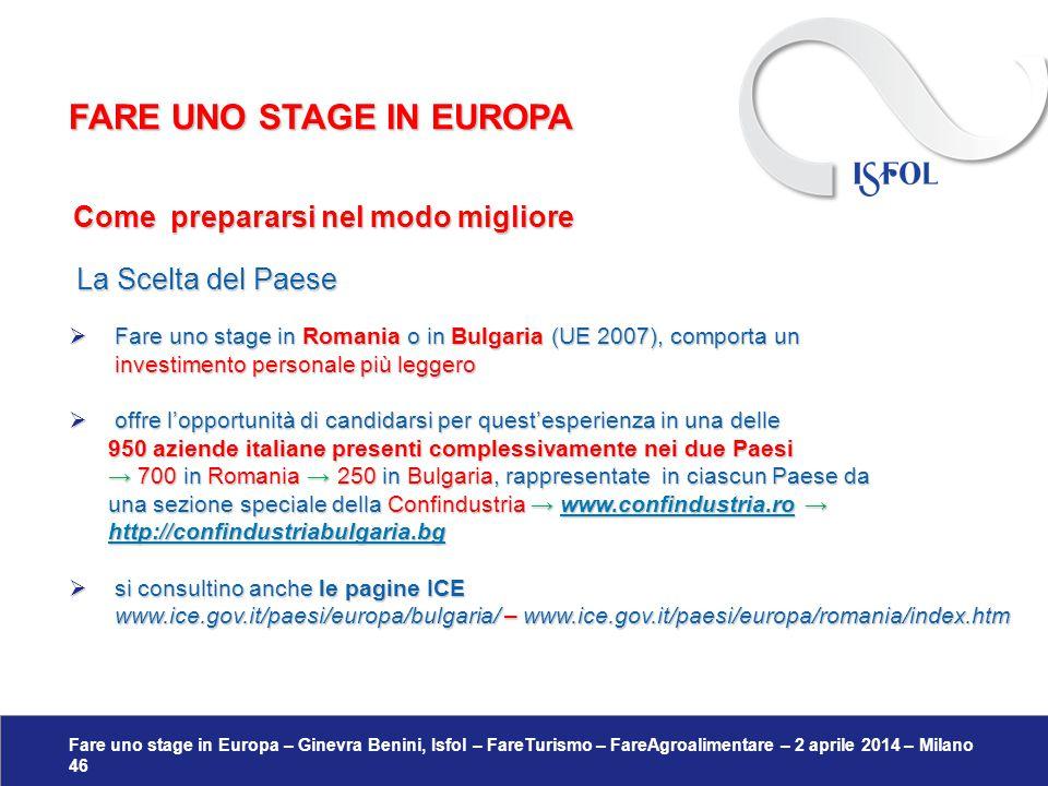 Fare uno stage in Europa – Ginevra Benini, Isfol – FareTurismo – FareAgroalimentare – 2 aprile 2014 – Milano 46 Come prepararsi nel modo migliore Come