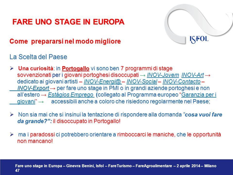Fare uno stage in Europa – Ginevra Benini, Isfol – FareTurismo – FareAgroalimentare – 2 aprile 2014 – Milano 47 Come prepararsi nel modo migliore La S