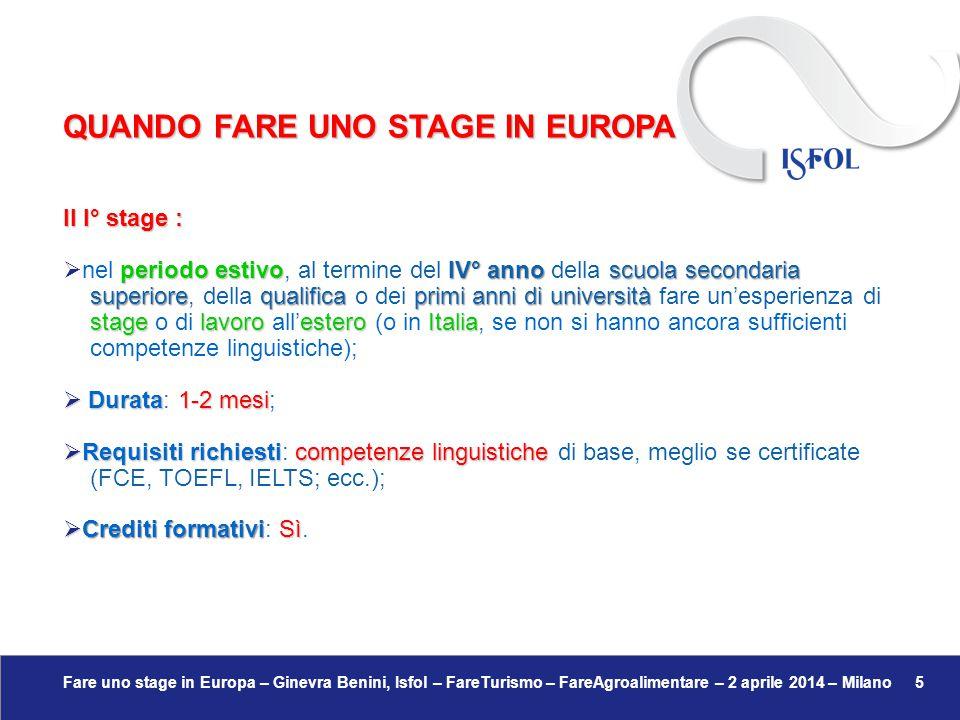 Fare uno stage in Europa – Ginevra Benini, Isfol – FareTurismo – FareAgroalimentare – 2 aprile 2014 – Milano 5 Il I° stage : periodo estivoIV° anno sc