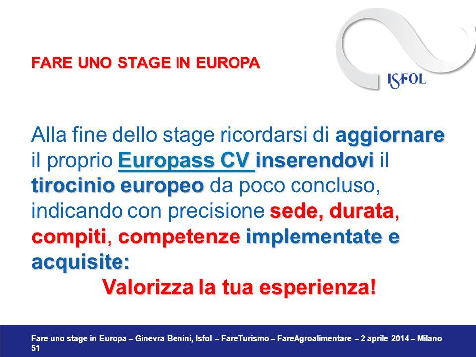 Fare uno stage in Europa – Ginevra Benini, Isfol – FareTurismo – FareAgroalimentare – 2 aprile 2014 – Milano 51 ggiornare Europass CV inserendovi tiro