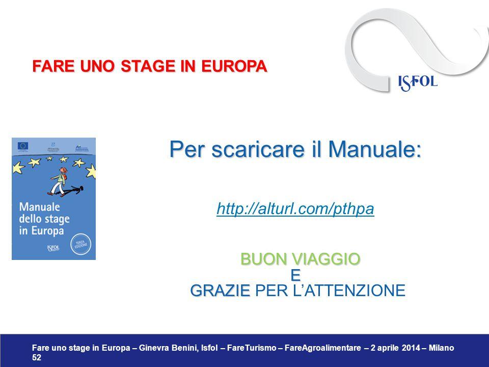 Fare uno stage in Europa – Ginevra Benini, Isfol – FareTurismo – FareAgroalimentare – 2 aprile 2014 – Milano 52 Per scaricare il Manuale: http://altur