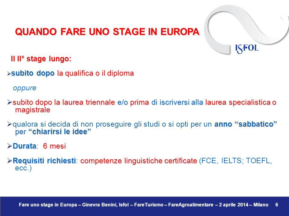 Fare uno stage in Europa – Ginevra Benini, Isfol – FareTurismo – FareAgroalimentare – 2 aprile 2014 – Milano 7 Come prepararsi nel modo migliore per fare uno stage all'estero:  Competenze linguistiche certificate →  FCE – First Certificate English → Cambridge Esol – www.cambridgeenglish.org – www.cambridgeenglish.org/it/find-a-centre/ – che fa www.cambridgeenglish.org – www.cambridgeenglish.org/it/find-a-centre/ – che fawww.cambridgeenglish.orgwww.cambridgeenglish.org/it/find-a-centre/www.cambridgeenglish.orgwww.cambridgeenglish.org/it/find-a-centre/ riferimento ai livelli stabiliti dal Quadro Comune di Riferimento Europeo; riferimento ai livelli stabiliti dal Quadro Comune di Riferimento Europeo;  IELTS → www.ielts.org – www.britishcouncil.org/it/ – per studiare o lavorare in www.ielts.orgwww.britishcouncil.org/it/www.ielts.orgwww.britishcouncil.org/it/ un Paese anglosassone (anche USA) un Paese anglosassone (anche USA)  TOEFL Junior → Test of English First Level → ETS – USA – www.ets.org/toefl – www.ef-italia.it/top/toefl/ www.ets.org/toefl – www.ef-italia.it/top/toefl/www.ets.org/toefl www.ef-italia.it/top/toefl/www.ets.org/toefl www.ef-italia.it/top/toefl/ FARE UNO STAGE IN EUROPA