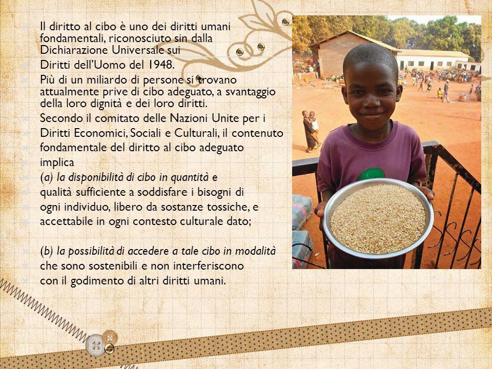  Il diritto al cibo è uno dei diritti umani fondamentali, riconosciuto sin dalla Dichiarazione Universale sui  Diritti dell'Uomo del 1948.