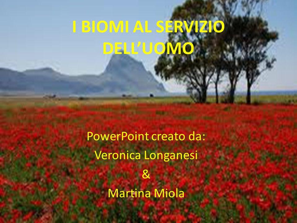 I BIOMI AL SERVIZIO DELL'UOMO PowerPoint creato da: Veronica Longanesi & Martina Miola