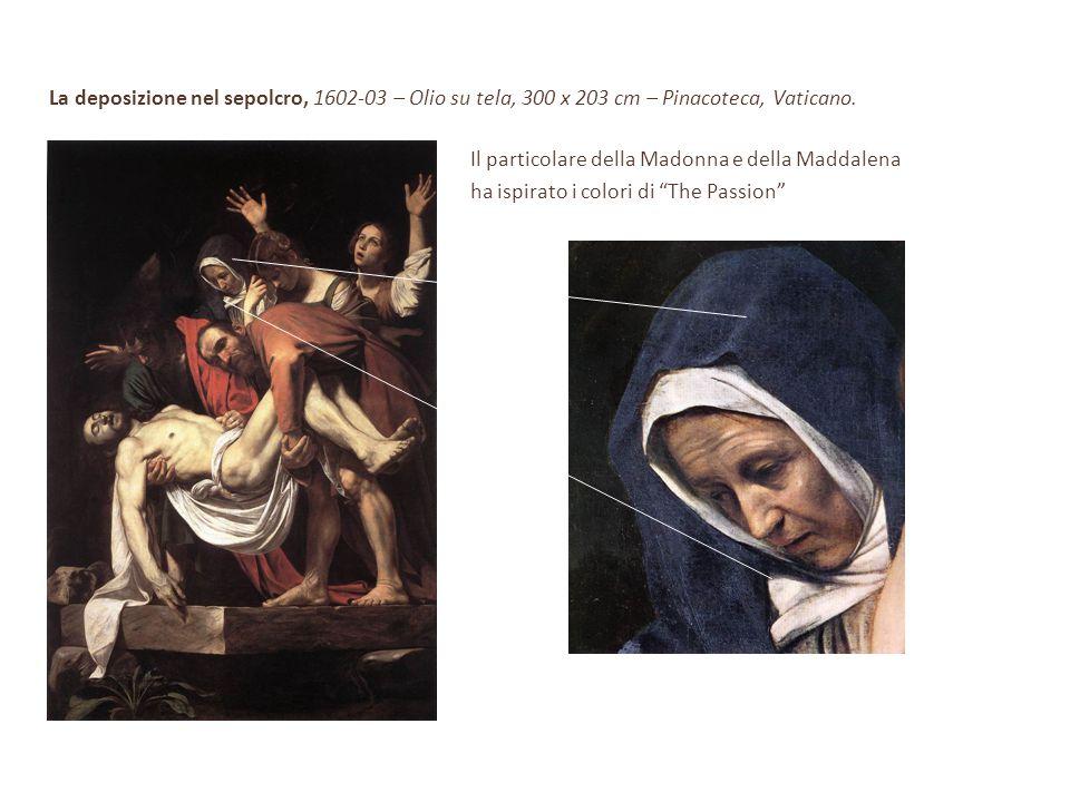 La deposizione nel sepolcro, 1602-03 – Olio su tela, 300 x 203 cm – Pinacoteca, Vaticano. Il particolare della Madonna e della Maddalena ha ispirato i