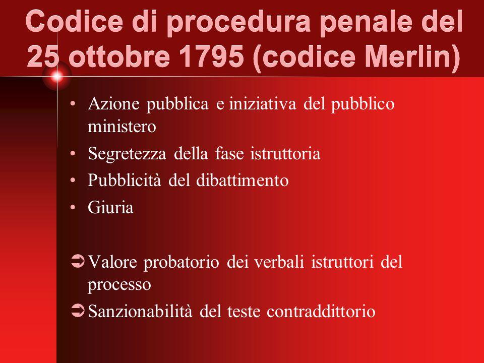 Codice di procedura penale del 25 ottobre 1795 (codice Merlin) Azione pubblica e iniziativa del pubblico ministero Segretezza della fase istruttoria Pubblicità del dibattimento Giuria  Valore probatorio dei verbali istruttori del processo  Sanzionabilità del teste contraddittorio