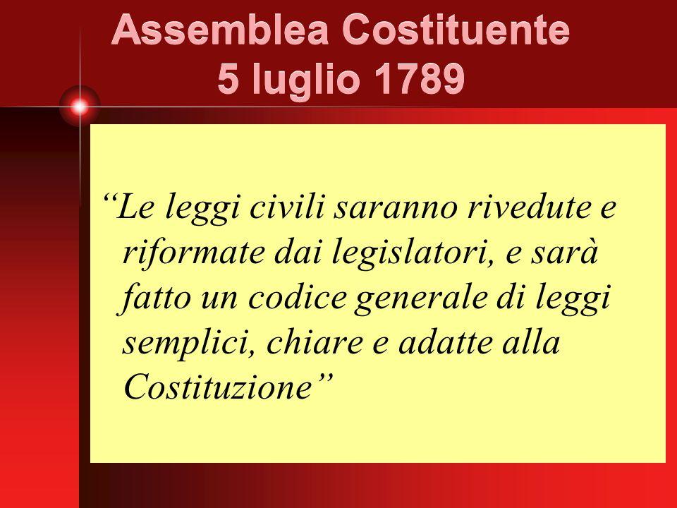 Assemblea Costituente 5 luglio 1789 Le leggi civili saranno rivedute e riformate dai legislatori, e sarà fatto un codice generale di leggi semplici, chiare e adatte alla Costituzione