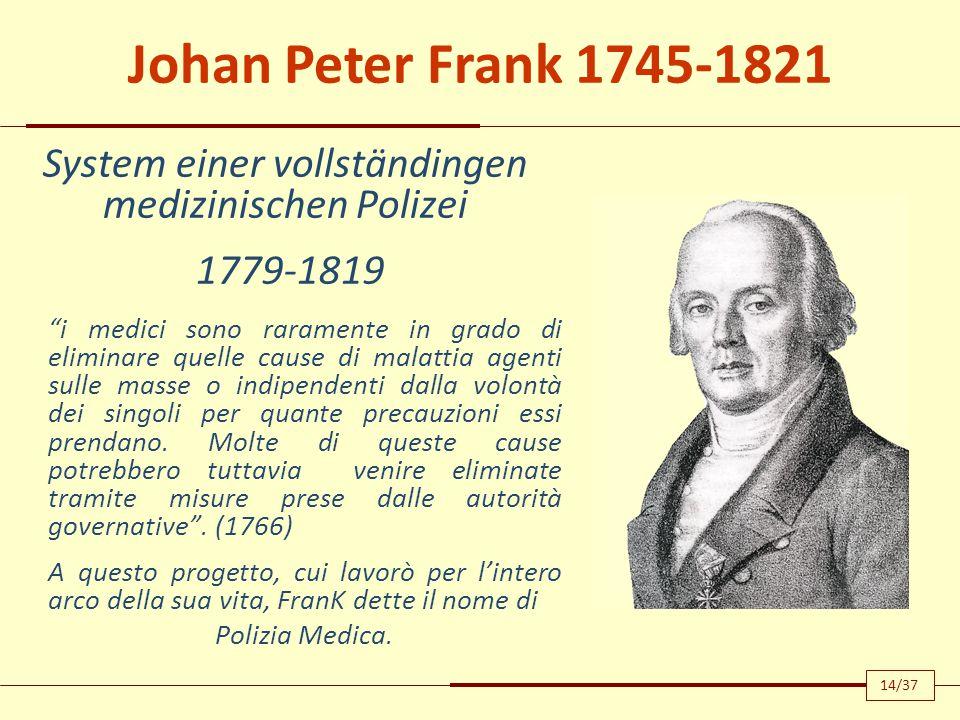 De populorum miseria: Morborum genitrice 1790, Pavia Ogni gruppo sociale ha un suo proprio tipo di salute e malattie.
