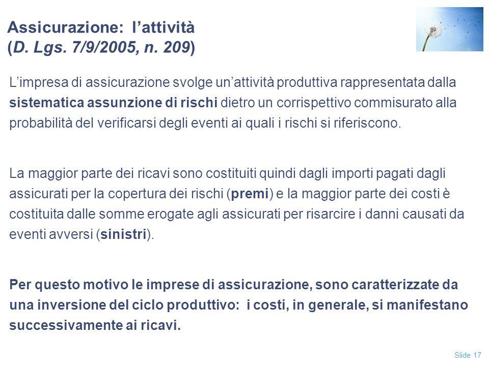 Slide 17 Assicurazione: l'attività (D.Lgs. 7/9/2005, n.