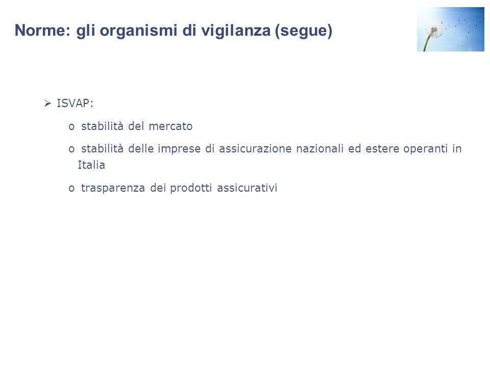 Norme: gli organismi di vigilanza (segue)  ISVAP: o stabilità del mercato o stabilità delle imprese di assicurazione nazionali ed estere operanti in Italia o trasparenza dei prodotti assicurativi