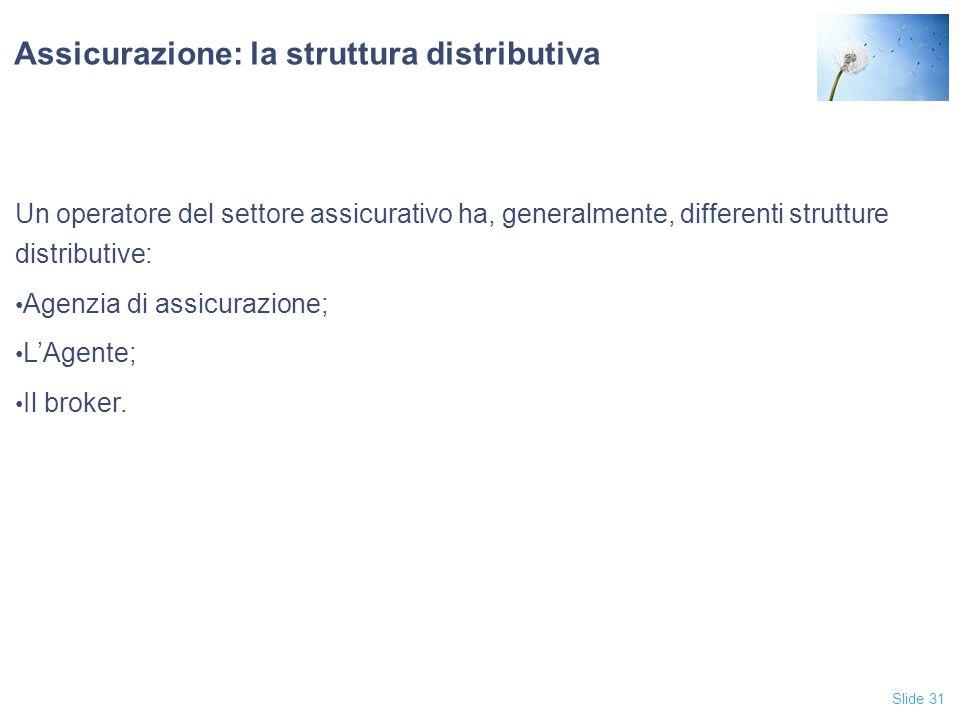 Slide 31 Assicurazione: la struttura distributiva Un operatore del settore assicurativo ha, generalmente, differenti strutture distributive: Agenzia di assicurazione; L'Agente; Il broker.