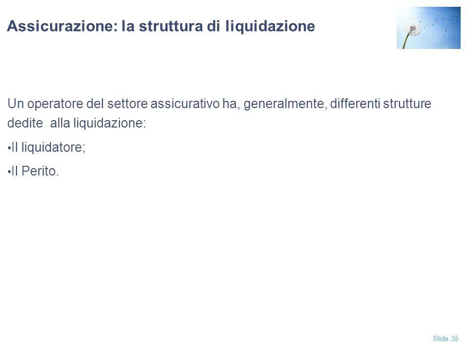 Slide 35 Assicurazione: la struttura di liquidazione Un operatore del settore assicurativo ha, generalmente, differenti strutture dedite alla liquidazione: Il liquidatore; Il Perito.