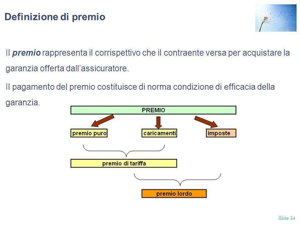 Slide 54 Definizione di premio Il premio rappresenta il corrispettivo che il contraente versa per acquistare la garanzia offerta dall'assicuratore.