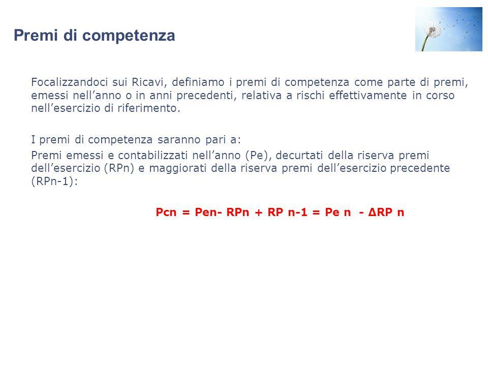 Premi di competenza Focalizzandoci sui Ricavi, definiamo i premi di competenza come parte di premi, emessi nell'anno o in anni precedenti, relativa a rischi effettivamente in corso nell'esercizio di riferimento.