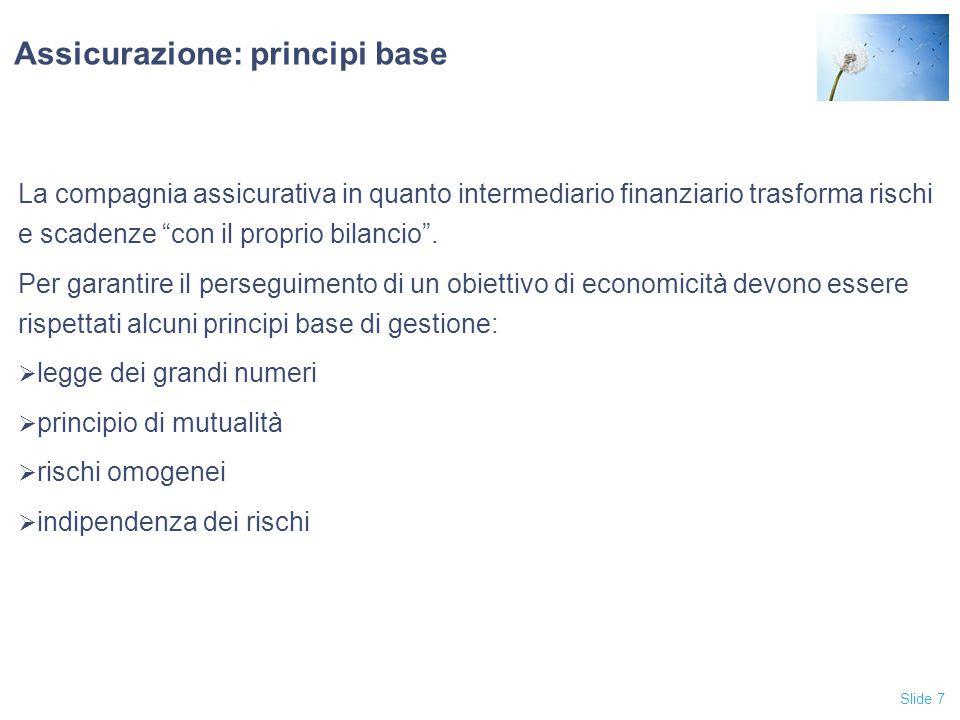 Slide 7 Assicurazione: principi base La compagnia assicurativa in quanto intermediario finanziario trasforma rischi e scadenze con il proprio bilancio .