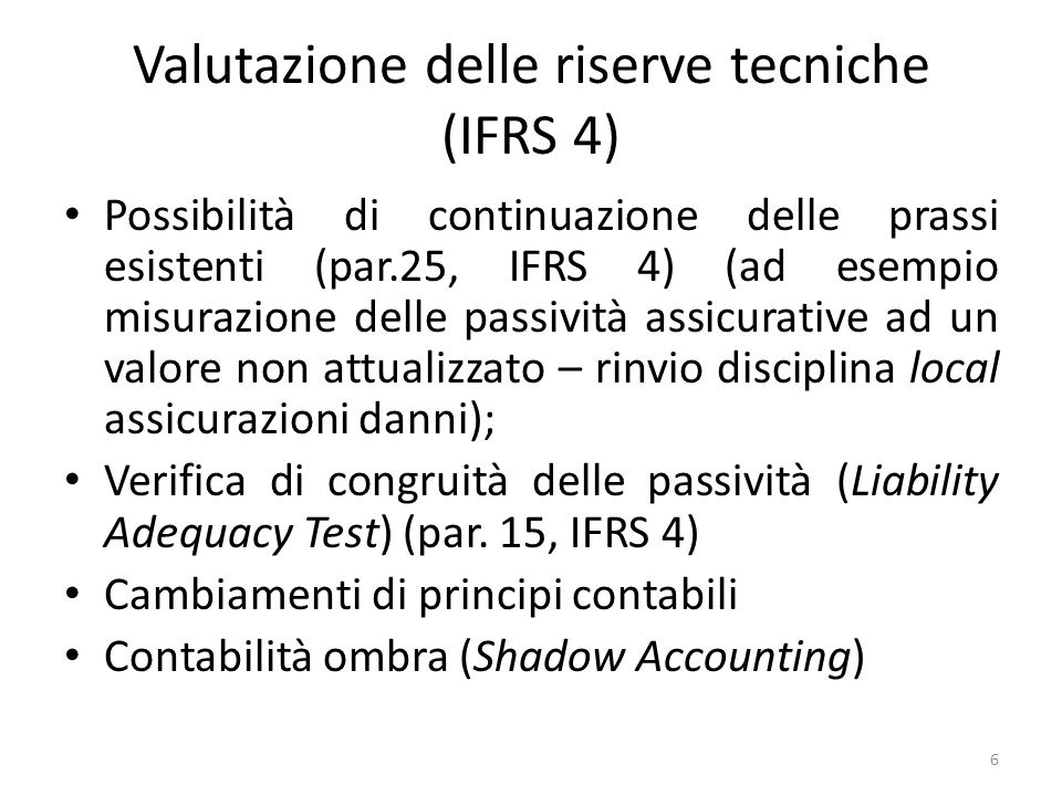 ED- discount rate for non-participating contracts Asset rate: 7% Risk free rate: 5% Difference between asset and risk rate: 2% is due to liquidity premium (0.8%) and to uncertainty of future cash flows (1.2%) Discount rate for technical reserves should be 5.8 % (risk free rate plus liquidity premium) Practical problem: in practice it is very rare to have the same duration for assets and for reserves so you must evaluate the liquidity risk either imagining a hypothetical asset with the same duration as the liability or using an average liquidity premium deriving from the market 17