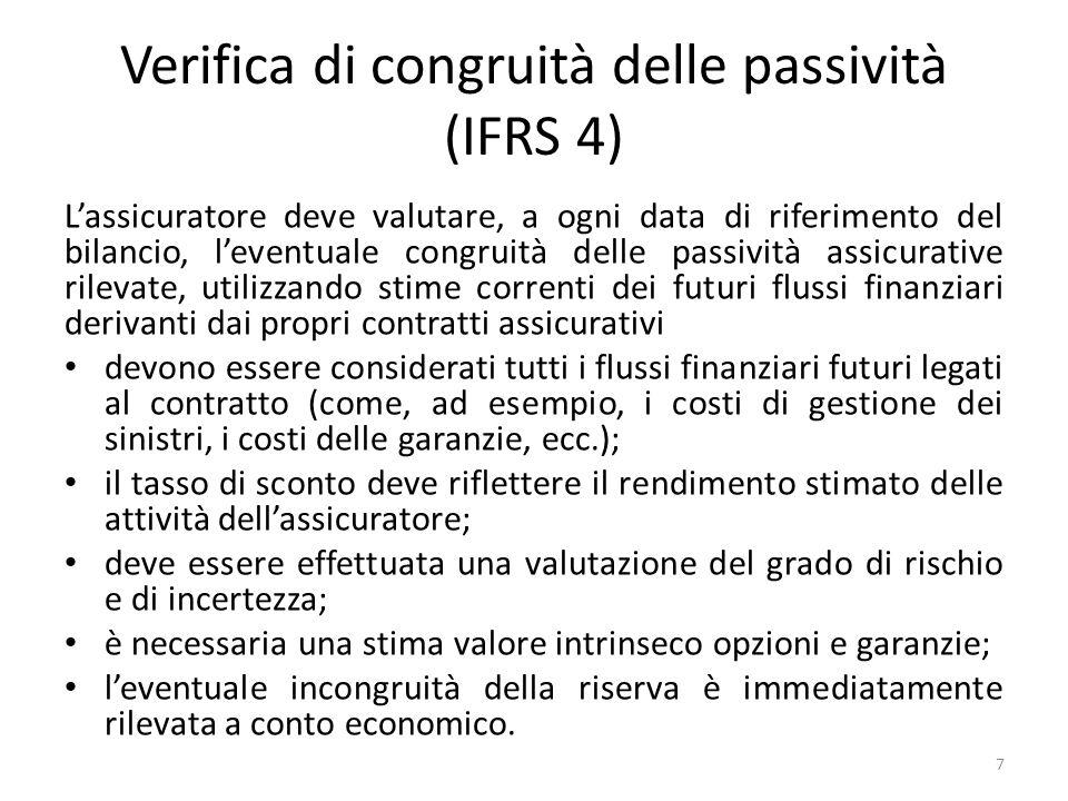 Verifica di congruità delle passività (IFRS 4) L'assicuratore deve valutare, a ogni data di riferimento del bilancio, l'eventuale congruità delle pass