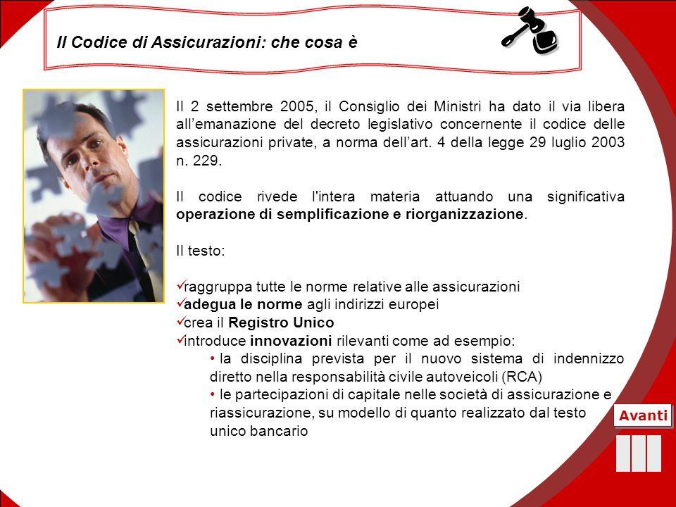 11 Il Codice di Assicurazioni: che cosa è Avanti Il 2 settembre 2005, il Consiglio dei Ministri ha dato il via libera all'emanazione del decreto legis