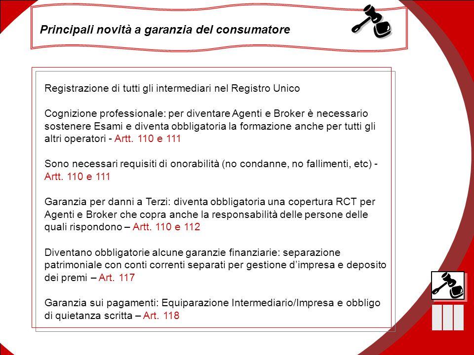 15 Principali novità a garanzia del consumatore Registrazione di tutti gli intermediari nel Registro Unico Cognizione professionale: per diventare Age