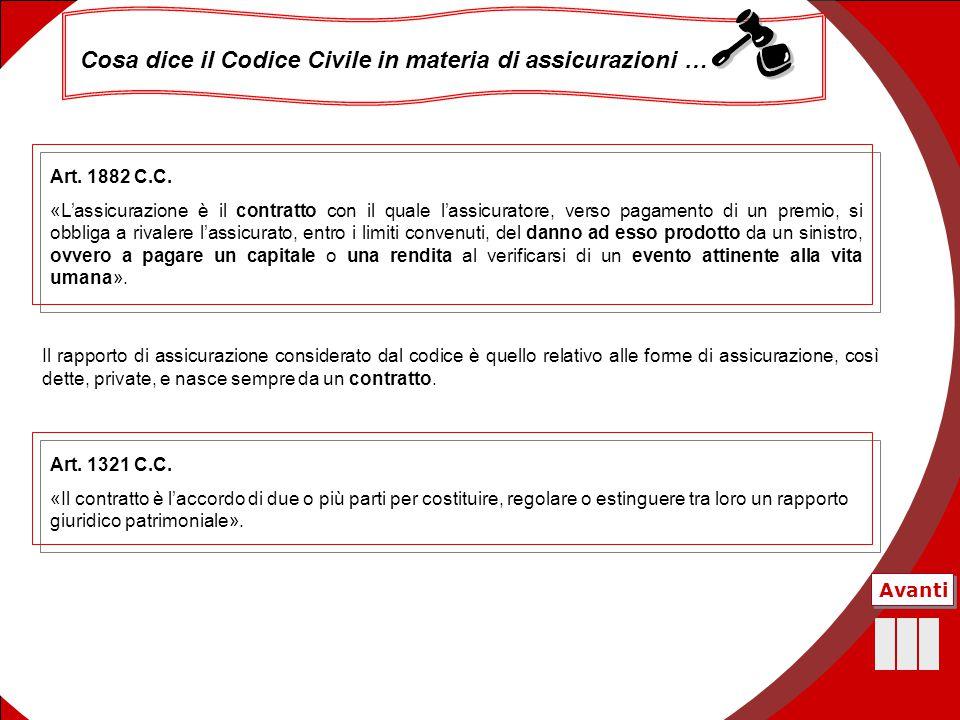 16 Cosa dice il Codice Civile in materia di assicurazioni … Art. 1321 C.C. «Il contratto è l'accordo di due o più parti per costituire, regolare o est