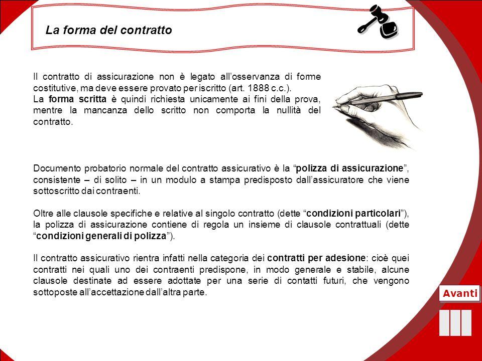 18 La forma del contratto Il contratto di assicurazione non è legato all'osservanza di forme costitutive, ma deve essere provato per iscritto (art. 18