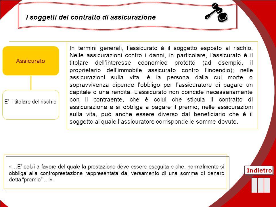 26 Assicurato ContraenteAssicuratoBeneficiario E' il titolare del rischio In termini generali, l'assicurato è il soggetto esposto al rischio. Nelle as