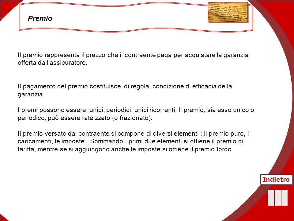 38 Il premio rappresenta il prezzo che il contraente paga per acquistare la garanzia offerta dall'assicuratore. Il pagamento del premio costituisce, d