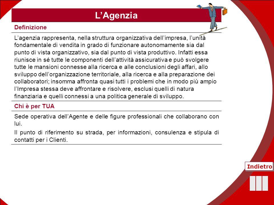 52 L'Agenzia Definizione L'agenzia rappresenta, nella struttura organizzativa dell'impresa, l'unità fondamentale di vendita in grado di funzionare aut